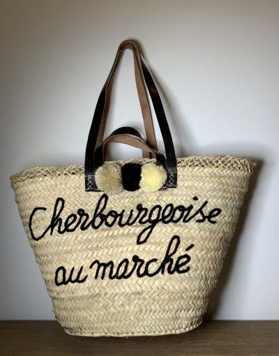 """Panier """"Cherbourgeoise au marché"""" noir"""