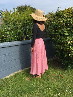 Jupe mi-longue rose