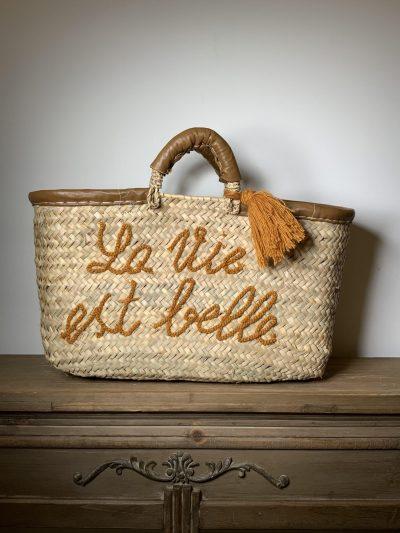 "Panier ""La vie est belle"" marron"