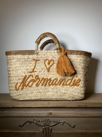 "Panier ""I love Normandie"" marron"