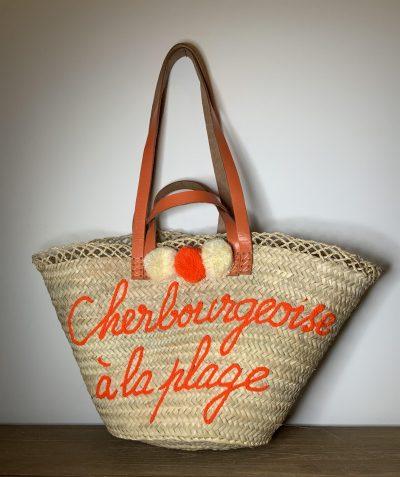 """Panier """"Cherbourgeoise à la plage"""" orange"""