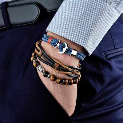 Bracelet Pyrénées noir & marron – cuir