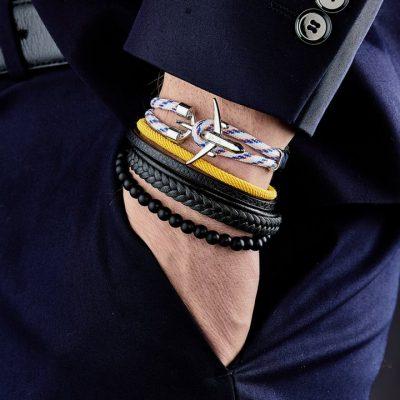 Bracelet Monceau – cuir et pierres naturelles