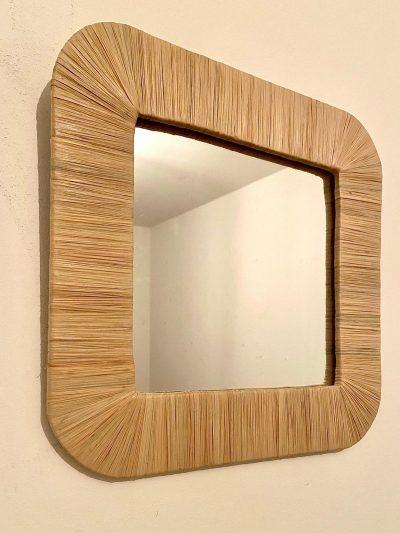 Miroir carré en raphia