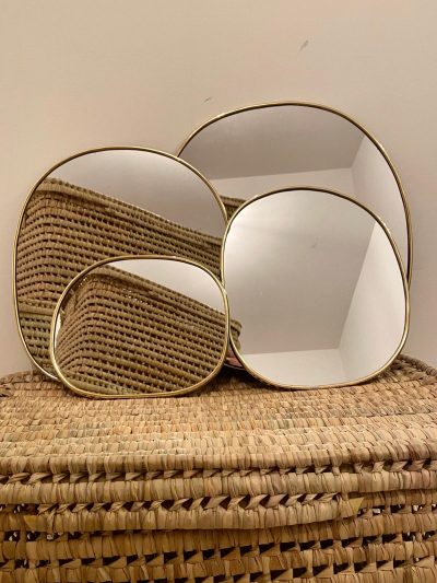 """Miroir """"Galet rond"""" bord fin"""