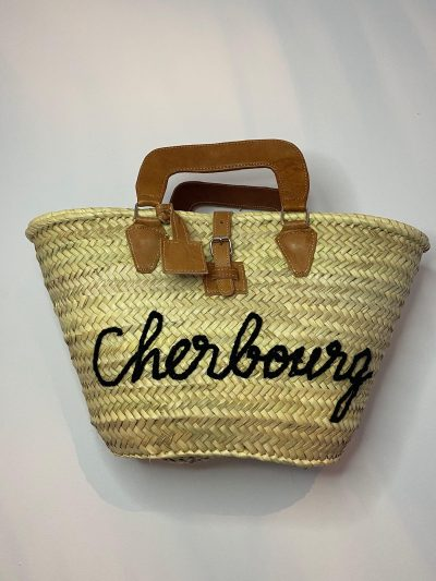 "Panier "" Cherbourg noir intérieur tissu"""