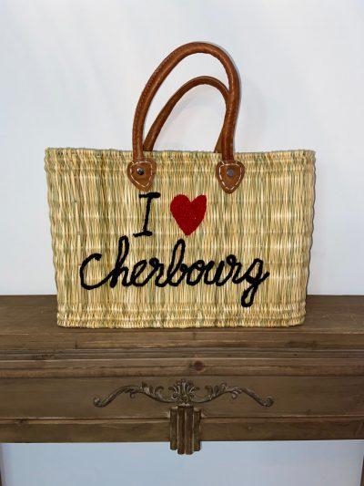 "Panier "" I love Cherbourg"" noir interieur vichy"