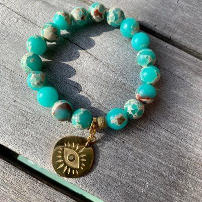 """Bracelet holbox """"oeil turquoise"""""""