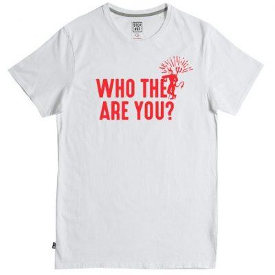 "Tee-shirt Step art""Who the Hell"" blanc"