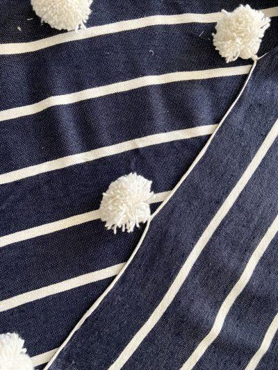 Plaid bleu marine & blanc