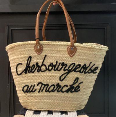 """Panier """"Cherbourgeoise au marché"""" intérieur vichy"""